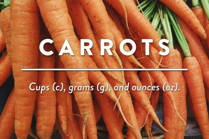 Carrots - Measurements in Cups (c), Grams (g), and Ounces (oz) by Sweet2EatBaking.com