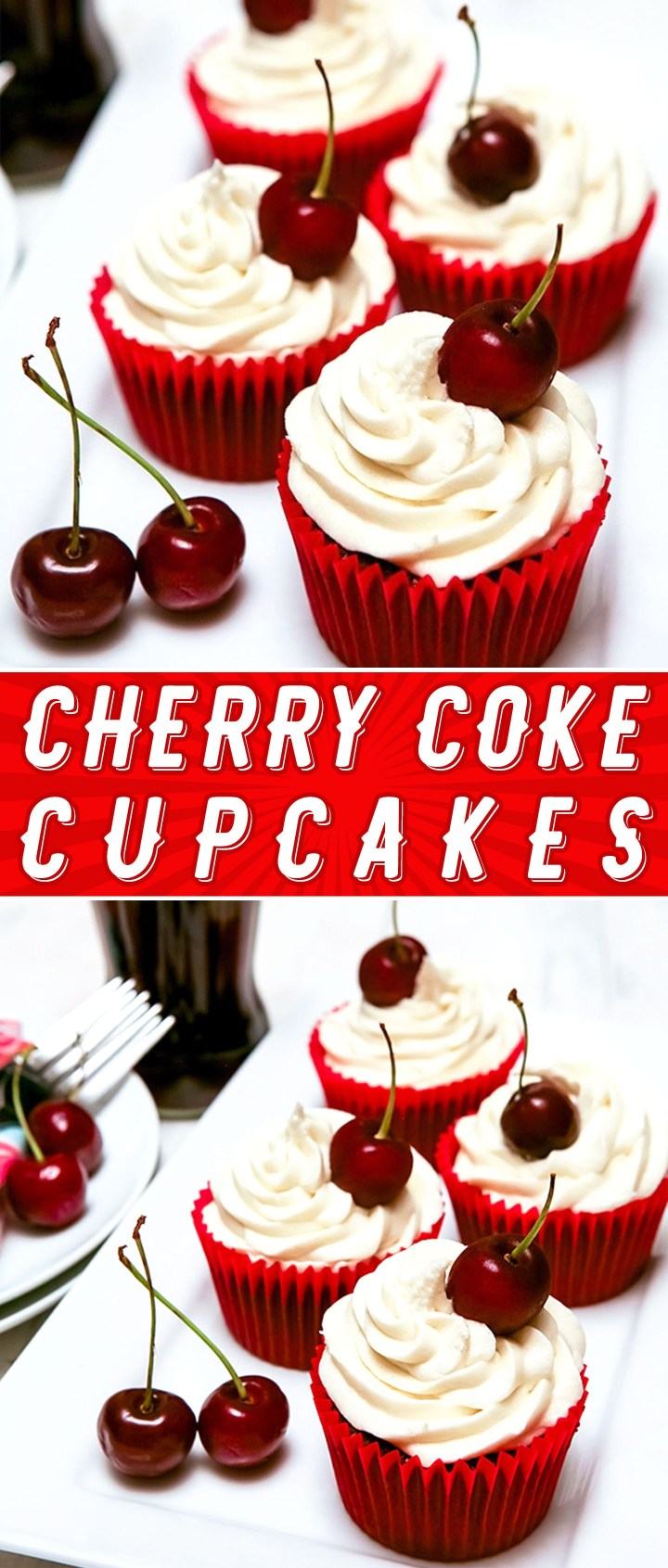 Cherry Coke Cupcakes Recipe by Sweet2EatBaking.com | These Cherry Coke cupcakes have cherry coke in the batter, making for a super moist flavourful cupcake. You can really taste the Cherry Coke flavour in these cupcakes.
