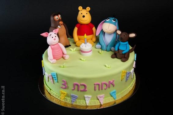 עוגה של פו הדב טיגר חזרזיר איה רו יום הולדת מעוצבת בבצק סוכר