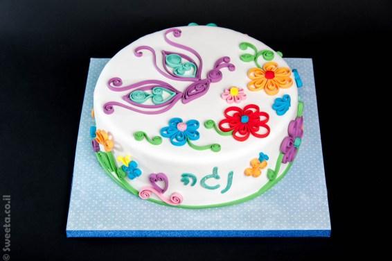 עוגה בסגנון קווילינג מבצק סוכר