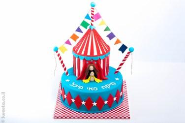 עוגת אוהל קרקס מעוצב בבצק סוכר