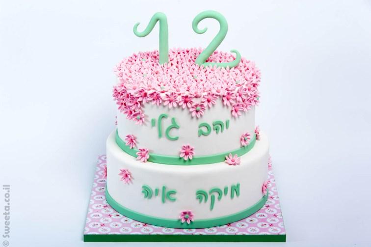עוגת בת מצווה קומותיים מעוצבת בבצק סוכר
