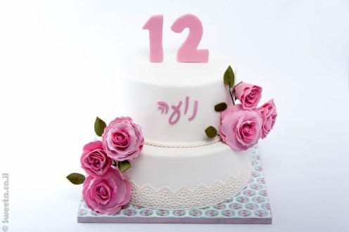 עוגת קומותיים לנועה ורדים ורודים