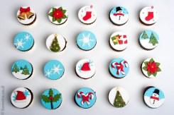 קאפקייקס מעוצבים בבצק סוכר לחג המולד