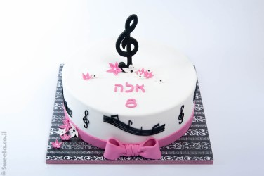 עוגת מוסיקה מעוצבת בבצק סוכר