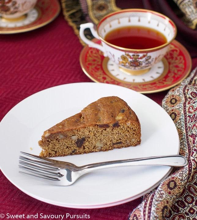 Slice of Date and Walnut Coffee Cake