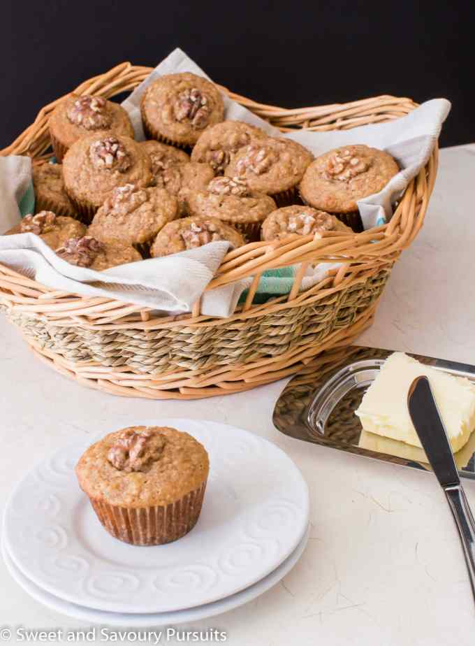 Basket of Banana Maple Walnut Muffins