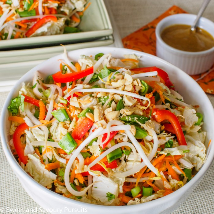 Large bowl with Asian Salad and a small bowl with Peanut Butter Dressing on the side.
