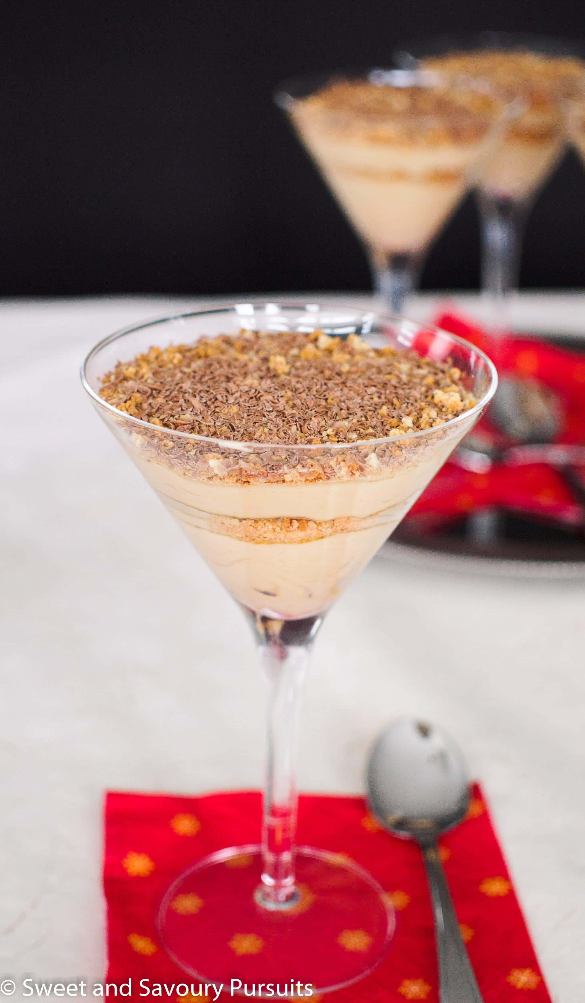 These delicious Mascarpone Espresso Cream and Amaretti Parfaits taste like coffee flavoured cheesecake but take very little time and work to prepare!