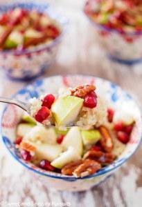 Pear Pommegranate Pecan Quinoa Breakfast Bowls