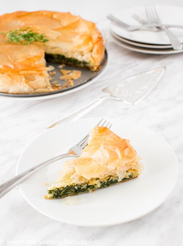 A slice of Spanakopita pie.