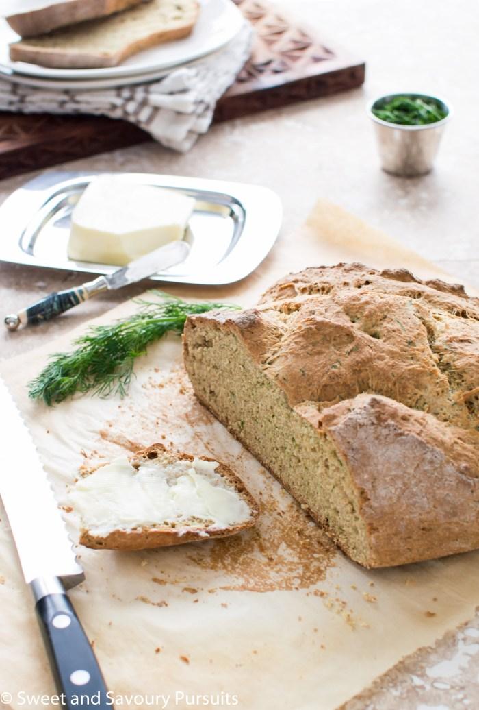 Sliced Irish Soda Bread with Dill