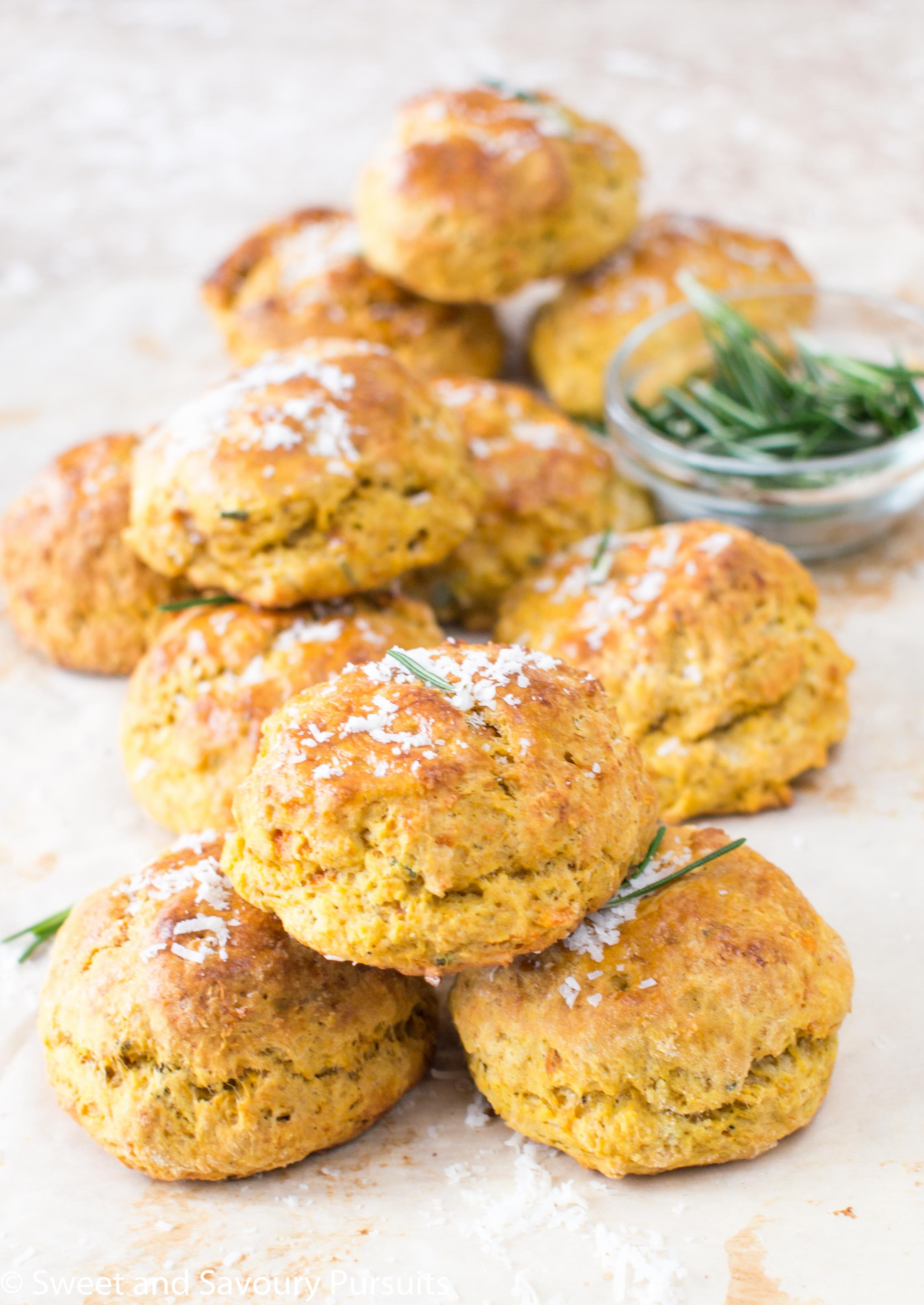 These beautiful and easy to make Sweet Potato, Parmesan and Rosemary Biscuits are tender, moist and just loaded with delicious flavour.