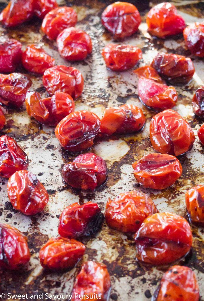 Roasted Grape Tomatoes on baking tray.