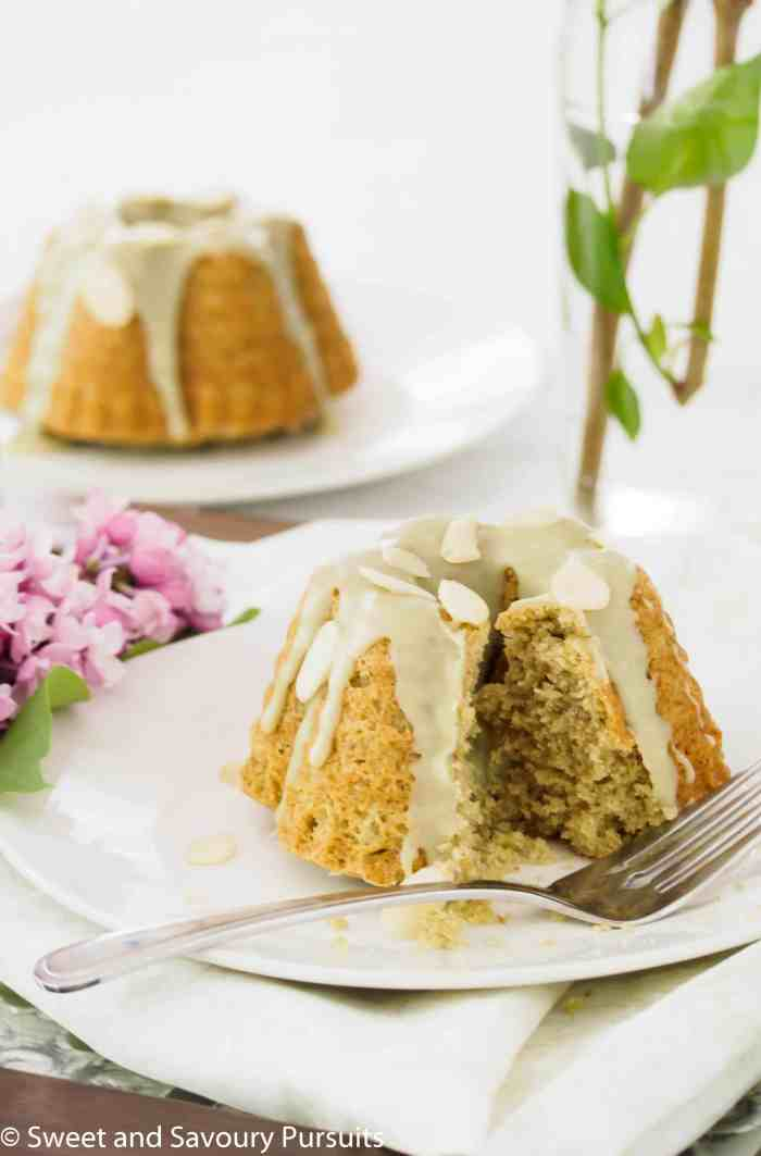 Mini Almond Matcha Bundt Cakes