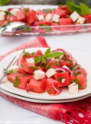 Plate of Watermelon Salad with fresh mint.
