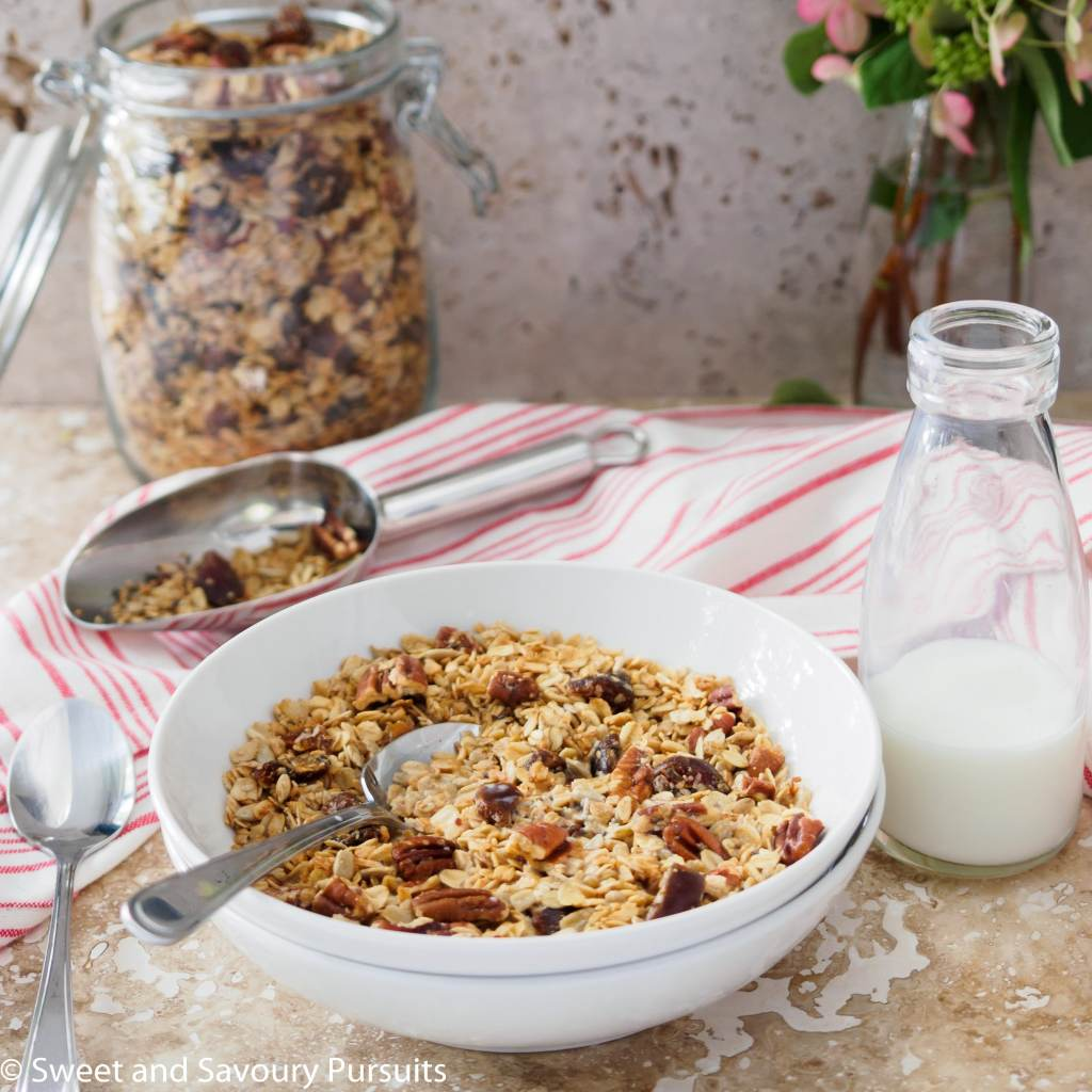 Bowl of Homemade Maple Pecan Granola with Dates
