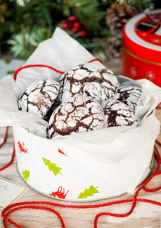 Holiday Chocolate Crinkle Cookies