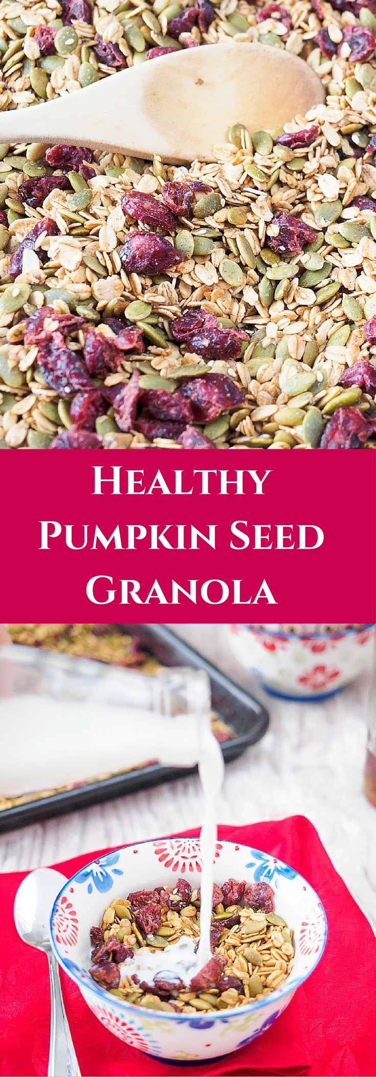 This Healthy Pumpkin Seed Granola is full of good for you ingredients. It comes together quickly and can be eaten for breakfast or as a healthy snack.