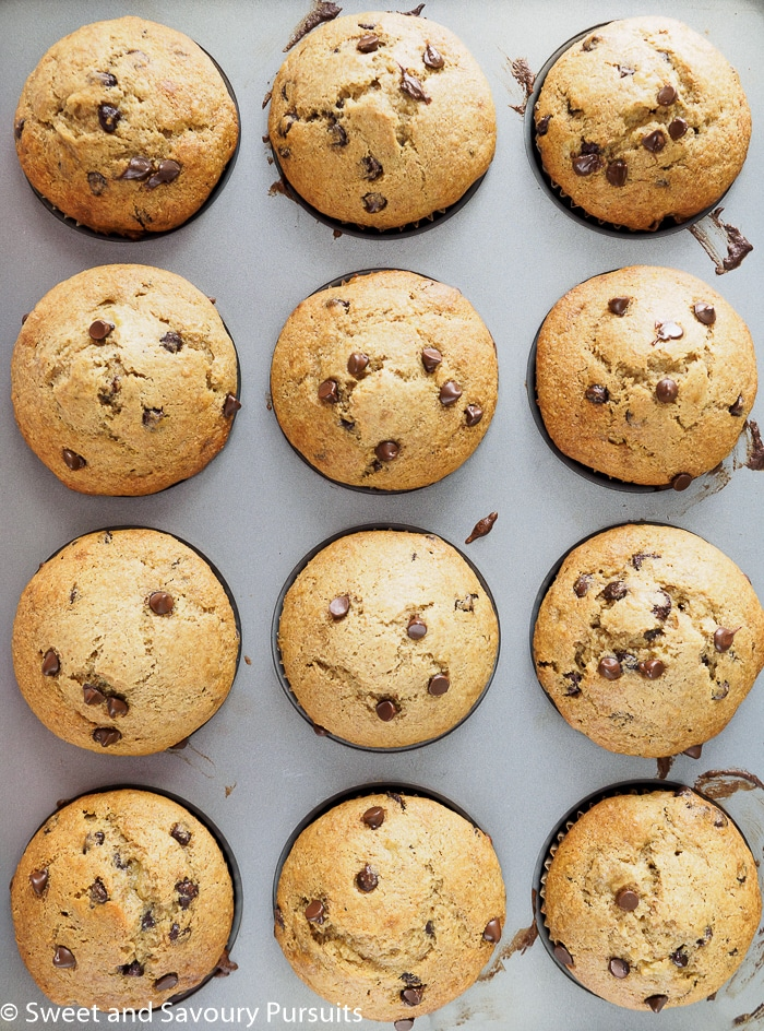 Banana Chocolate Chip Muffins in muffin pan.