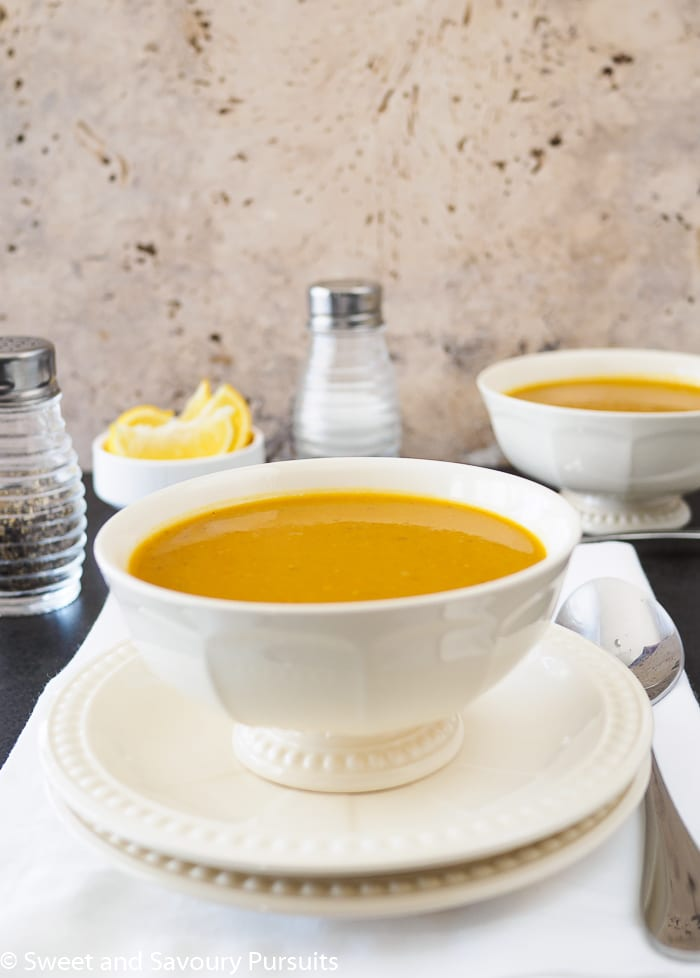 Bowl of curried sweet potato and lentil soup