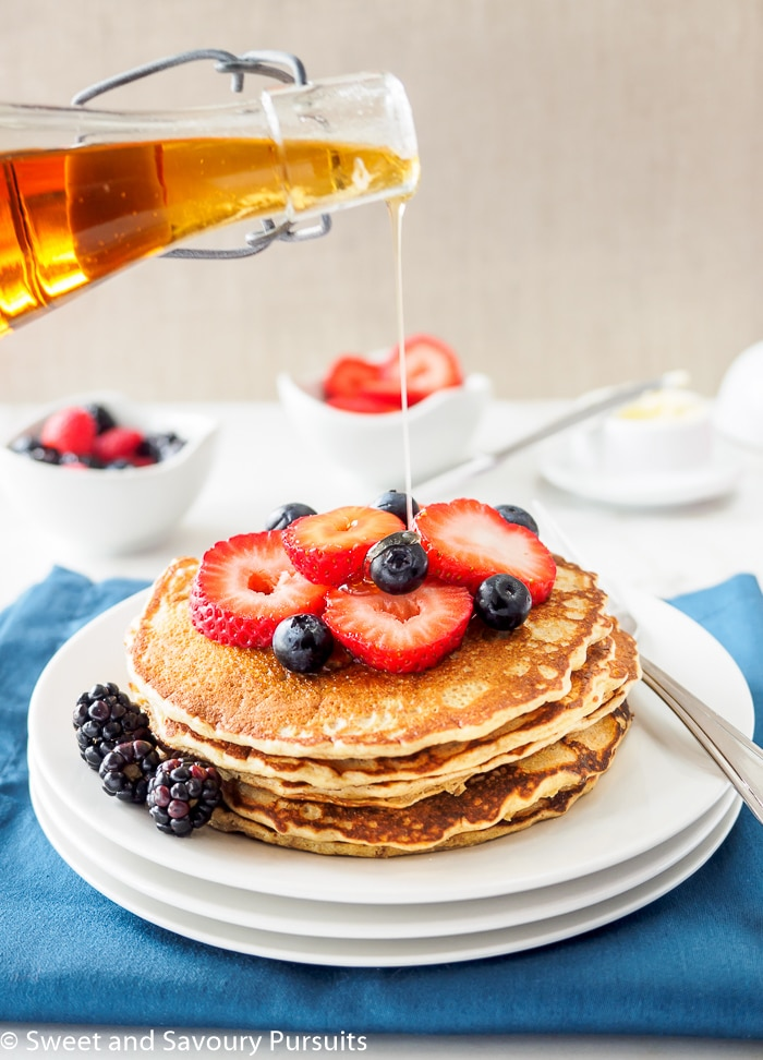 Top these Whole Wheat Quinoa Flour Pancakes with your favourite berries and pure maple syrup for a delicious and nutritious breakfast.