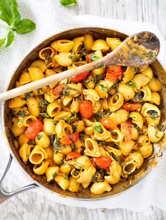 A prepared Creamy Tomato and Spinach Pasta still in large skillet.