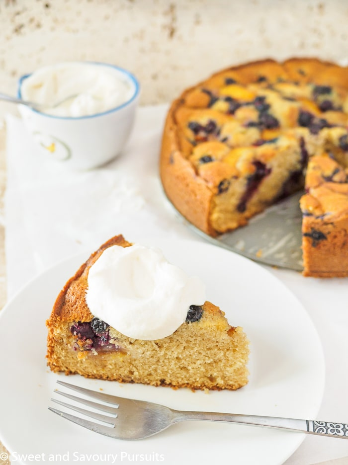 Fresh Peach and Blueberry cake