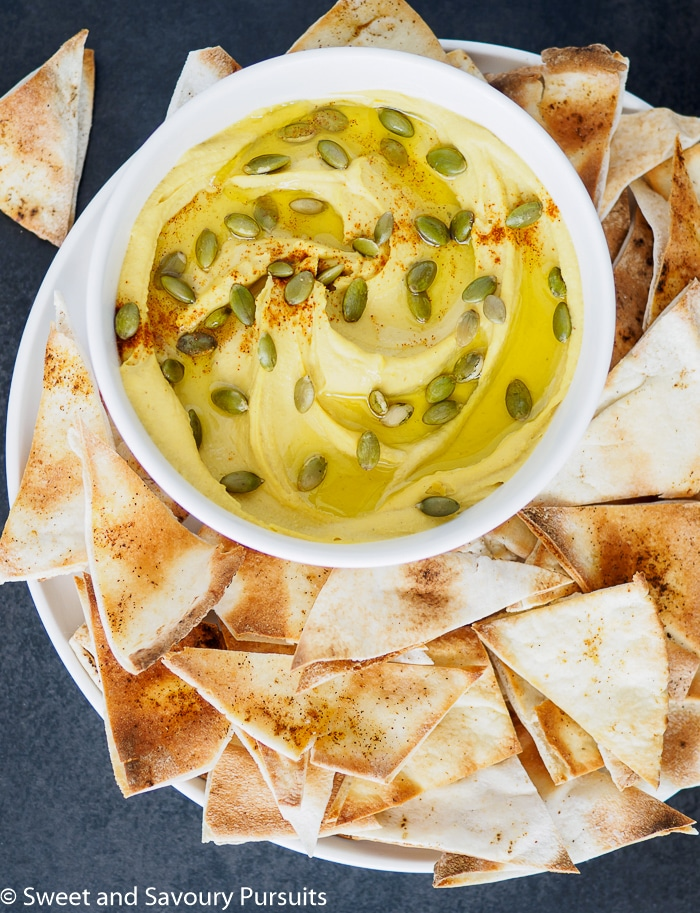 White Bean Dip served with toasted pita chips