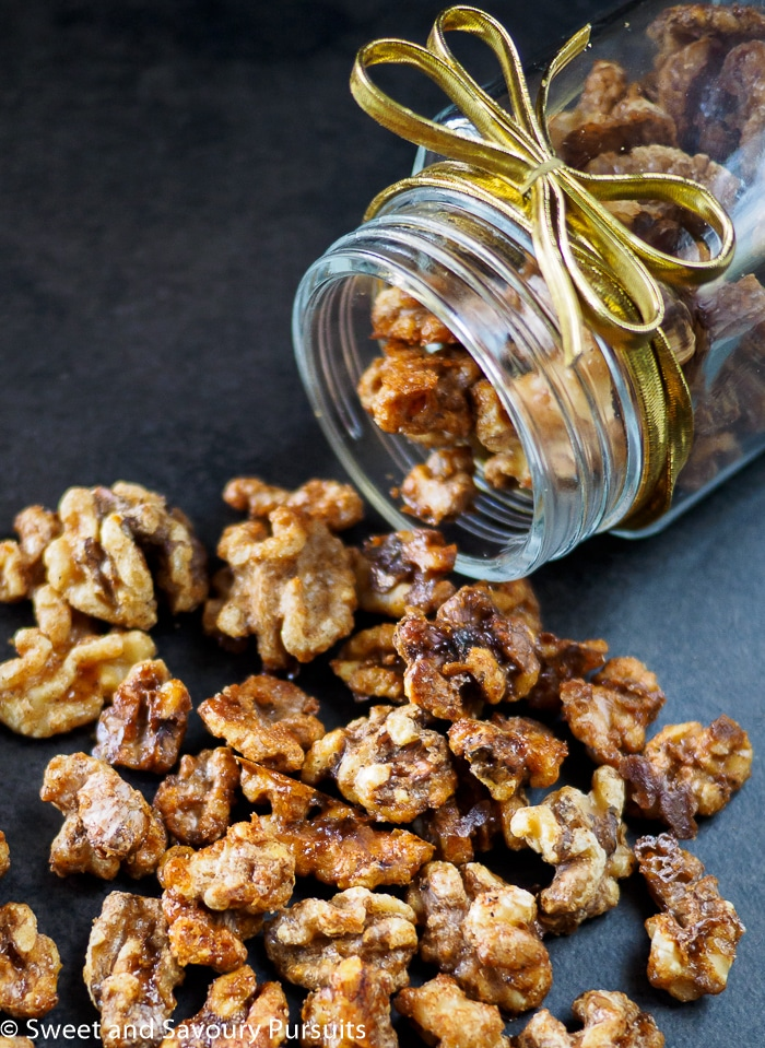 These easy to make, perfectly roasted sweet and savoury Maple Spiced Walnuts are a delicious and addictive fall treat! Serve them as a snack or with cocktails. They are also perfect for gifting!