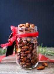 Rosemary Spiced Roasted Almonds in mason jar.