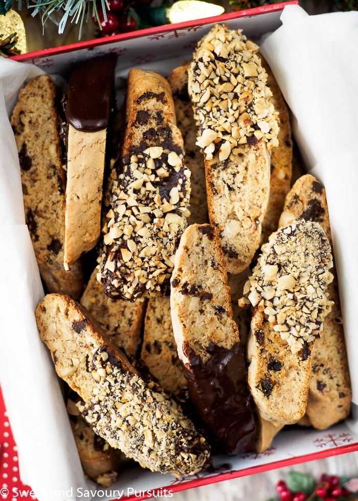 Hazelnut Chocolate Biscotti displayed in gift box.