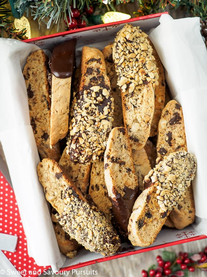 Box of Chocolate Hazelnut Biscotti.