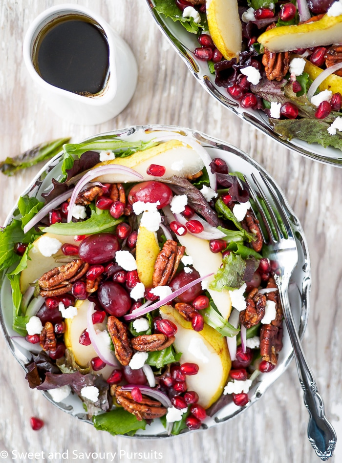 Pomegranate, Pear and Pecan Salad with Balsamic Vinaigrette