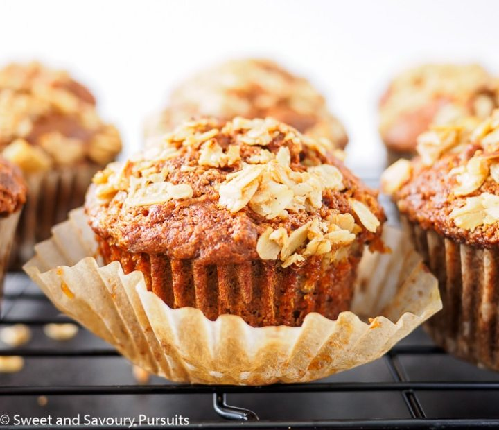 Whole Wheat Carrot Muffins on cooling rack.