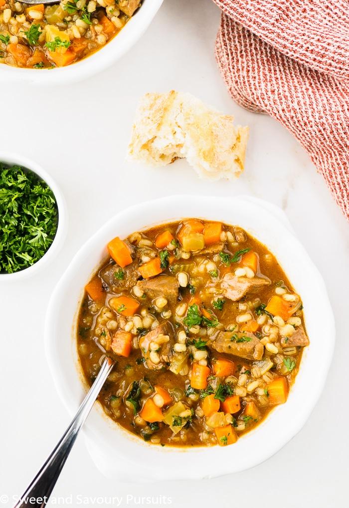 Bowl of Beef Barley Soup
