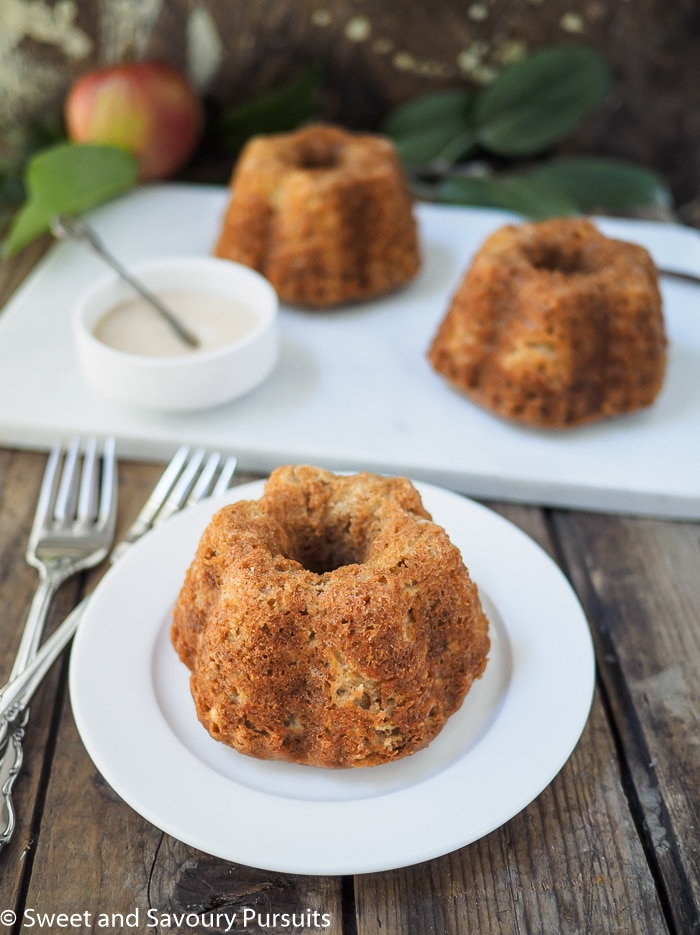 Three Mini Apple Spice Bundt Cakes.