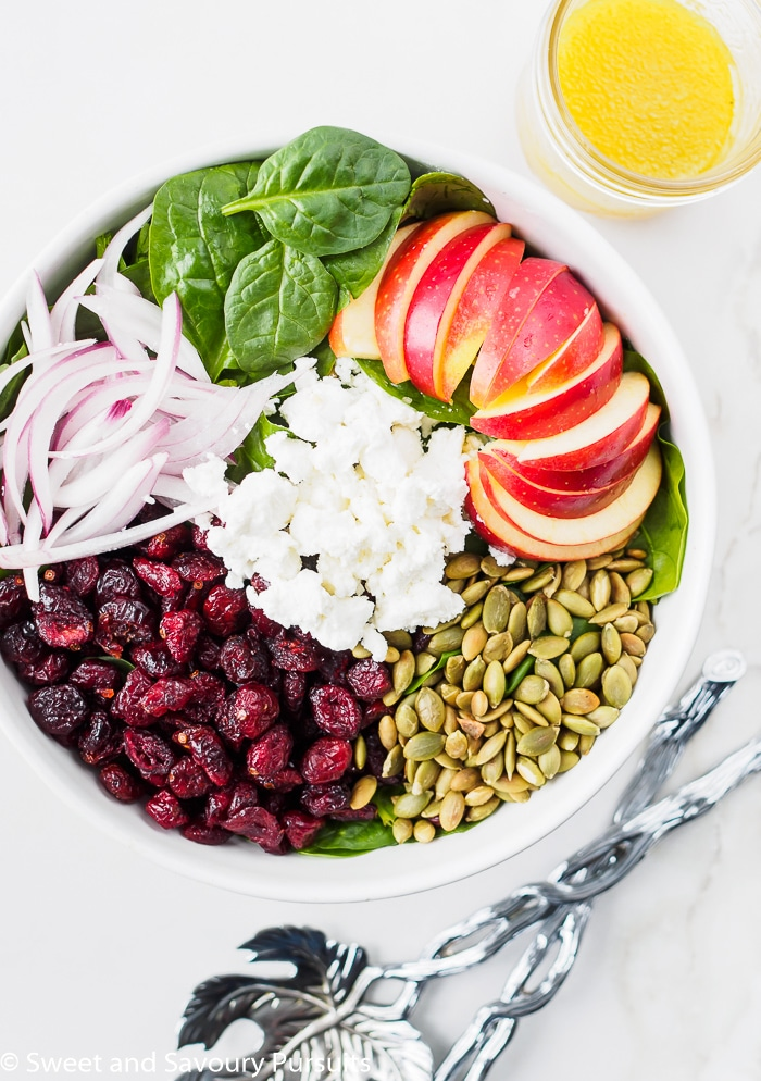 Large Bowl of Spinach Apple Cranberry Salad with Pumpkin Seeds and Goat Cheese