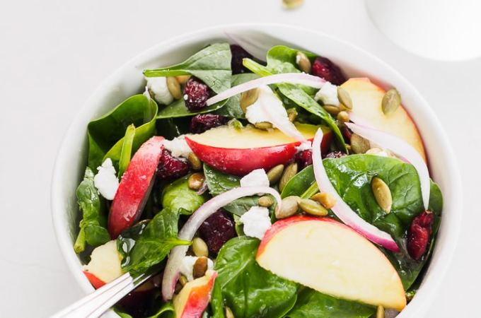 Bowl of Spinach Apple Cranberry Salad