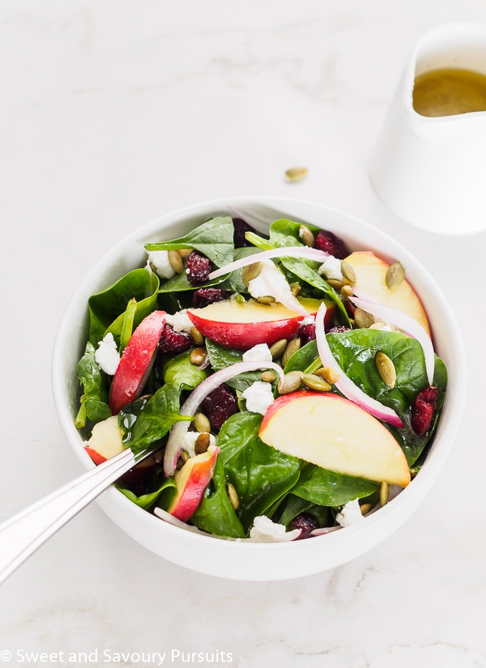 This easy recipe for a flavourful Spinach Apple Cranberry Salad combines basic sweet and savoury ingredients and is proof that simple can be delicious.