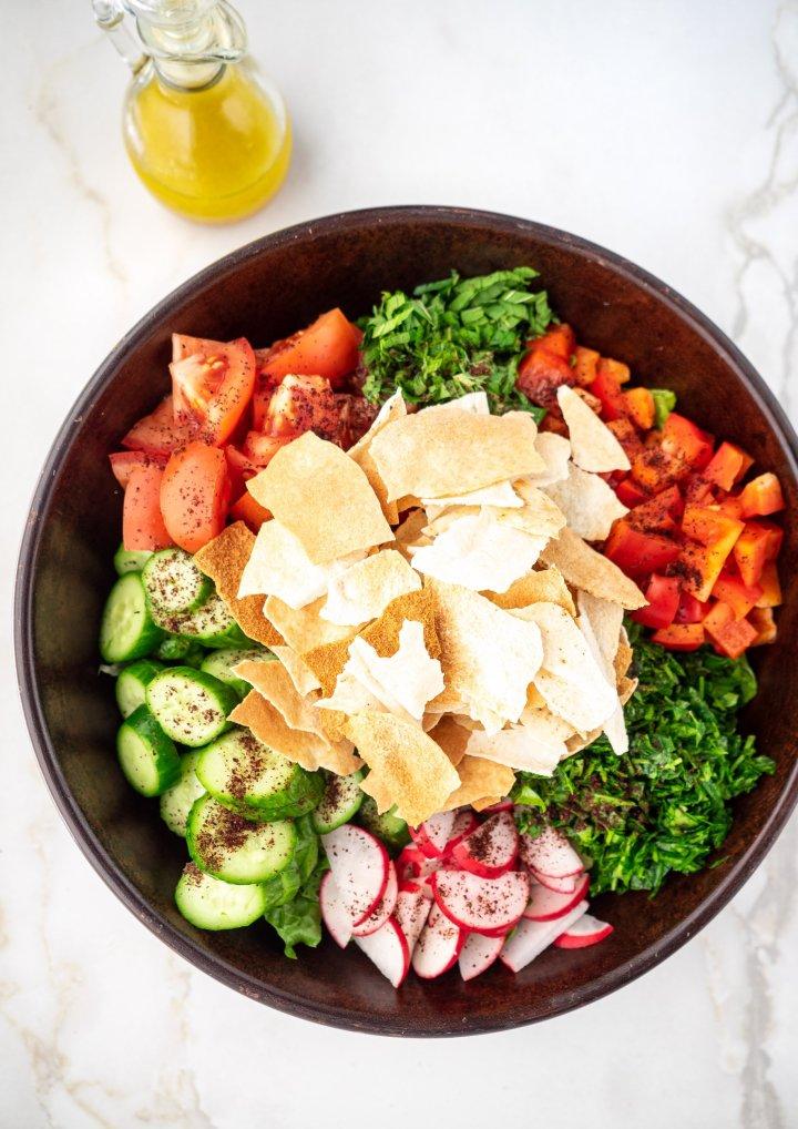 Large bowl of salad ingredients