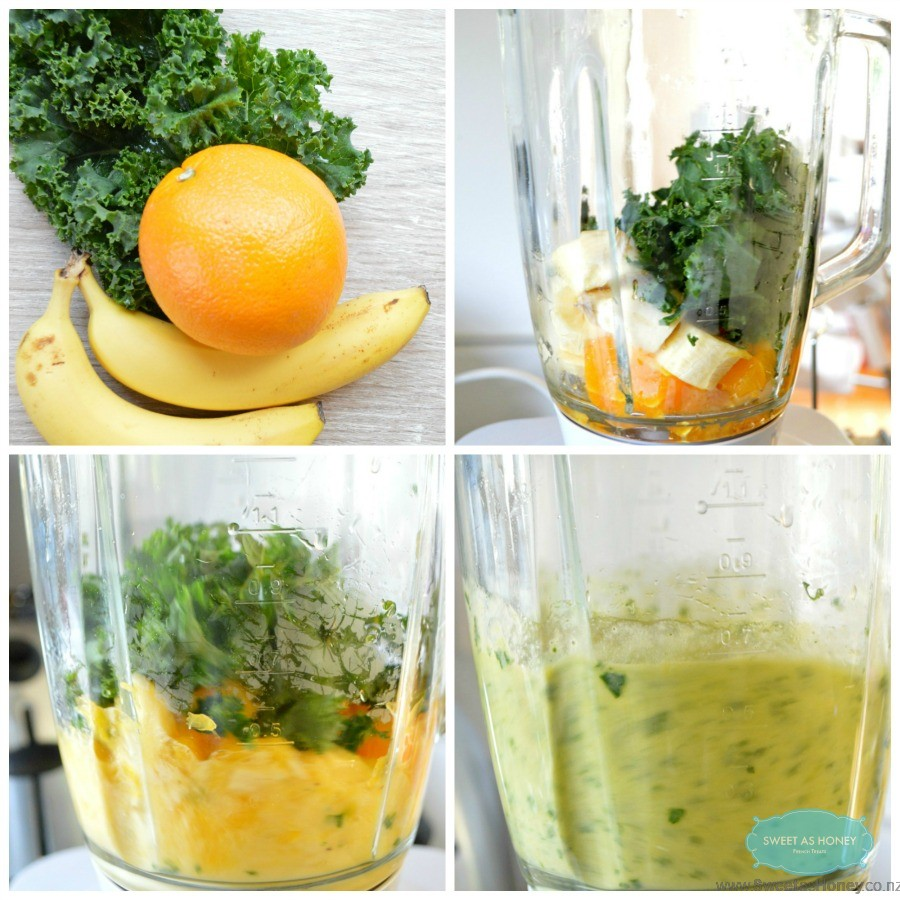 collage green smoothie steps