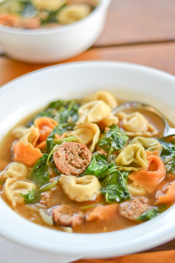 Sausage  & Tortellini Spinach Soup