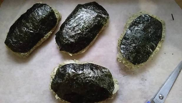 form the vegan fish patties and top them with nori sheet