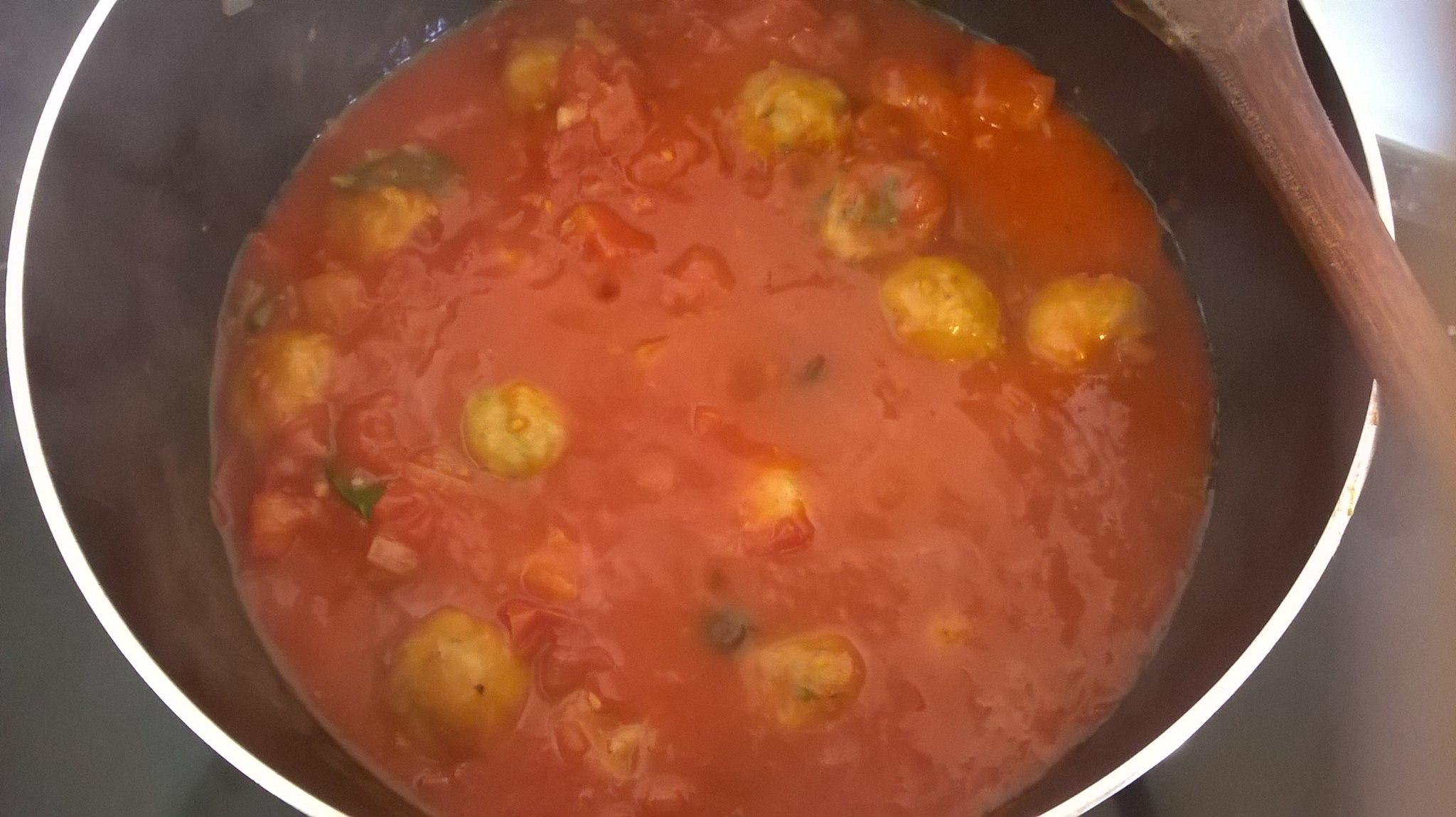 vegan chickpeas meatballs and tomato soup