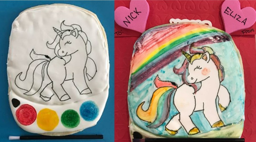 Unicorn PIY Cookie Valentine Before After