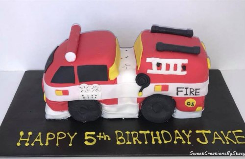 3-D Fire Truck Birthday Cake