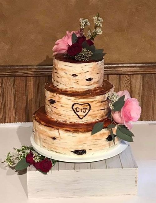 Birchbark outdoor wilderness wedding cake