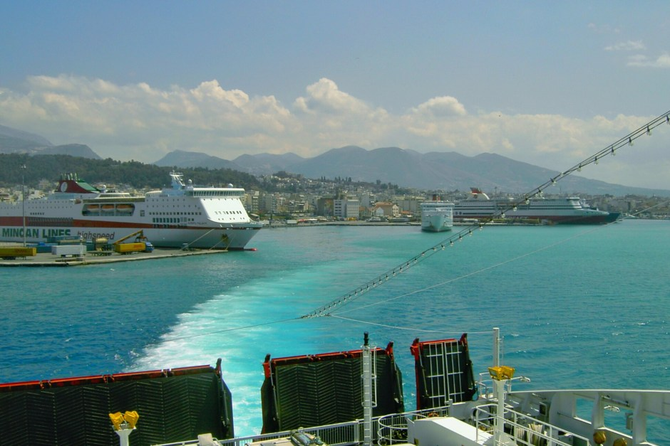 Leaving the port of Patras, Greece