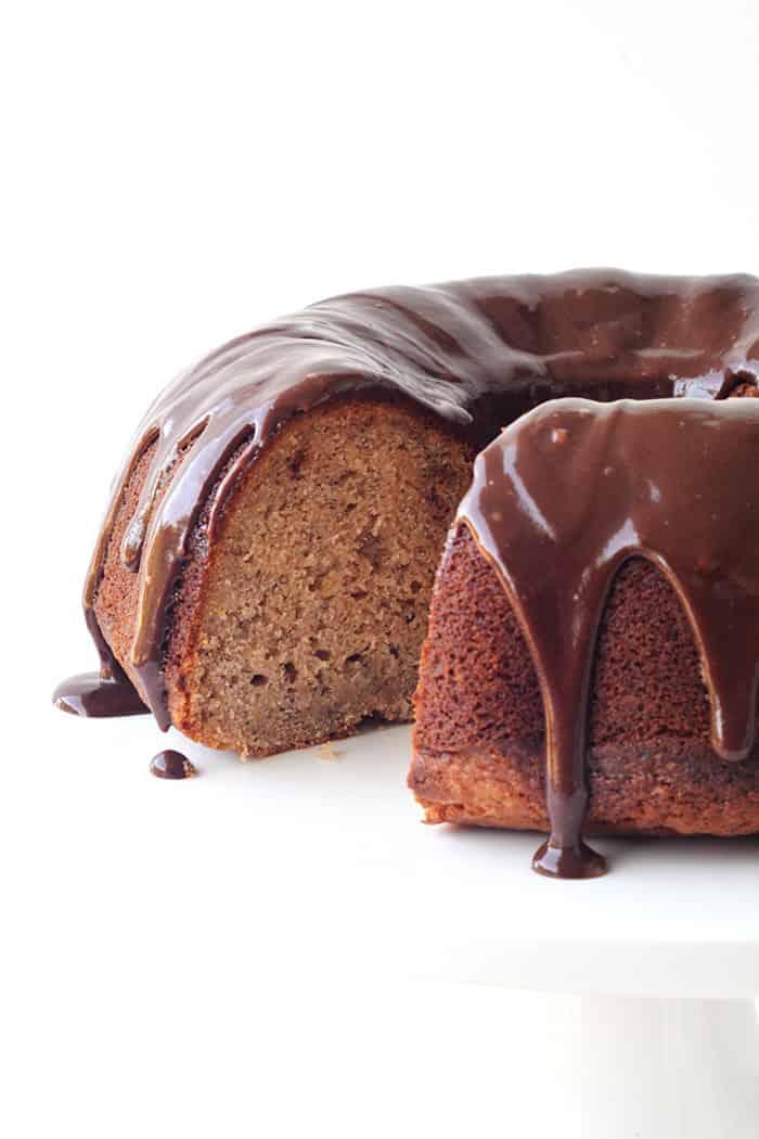 Banana Bundt Cake with Nutella Ganache